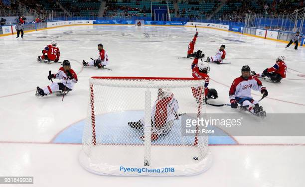 Team Norway celebrate the opening goal in the Ice Hockey Classification game between Norway and Japan during day five of the PyeongChang 2018...