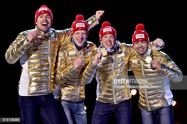Team Norway celebrates winning the gold medal during the IBU Biathlon World Championships Men's Relay on March 12 2016 in Oslo Norway