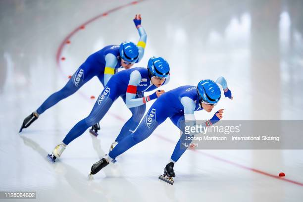 Team Norway compete in the Ladies Team Sprint during day 1 of the ISU World Single Distances Speed Skating Championships at Max Aicher Arena on...