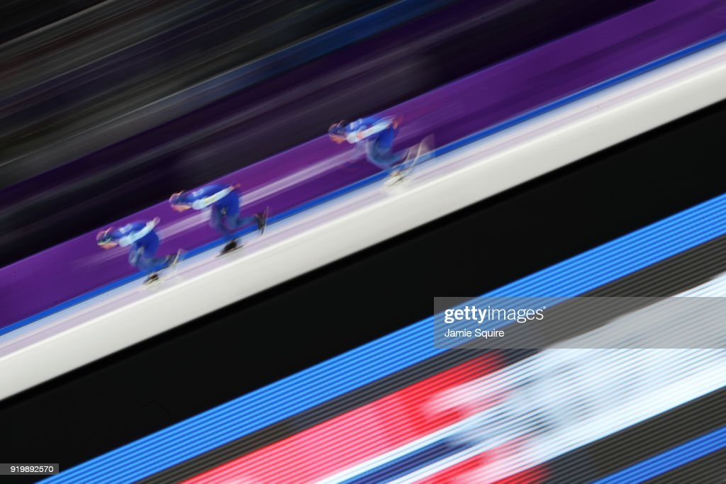 Team Norway competes during the Men's Team Pursuit Speed Skating Quarter Finals on day nine of the PyeongChang 2018 Winter Olympic Games at Gangneung Oval on February 18, 2018 in Gangneung, South Korea.