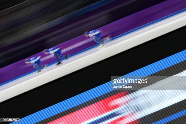 Team Norway competes during the Men's Team Pursuit Speed Skating Quarter Finals on day nine of the PyeongChang 2018 Winter Olympic Games at Gangneung...