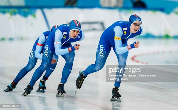 Team Norway competes in the Mens Team Pursuit sprint race during the ISU Junior World Cup Speed Skating Final day 1 on February 9 2019 in Trento Italy