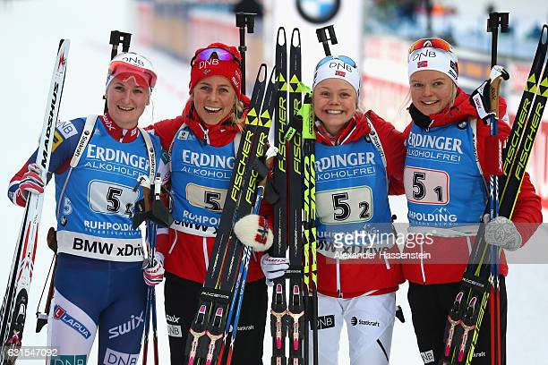 Team Norway Marte Olsbu Tiril Eckhoff Hilde Fenne and Kaian Woeinen Nicolaisen celebrates winning the 3rd place after the 4x6 km Women's Relay during...