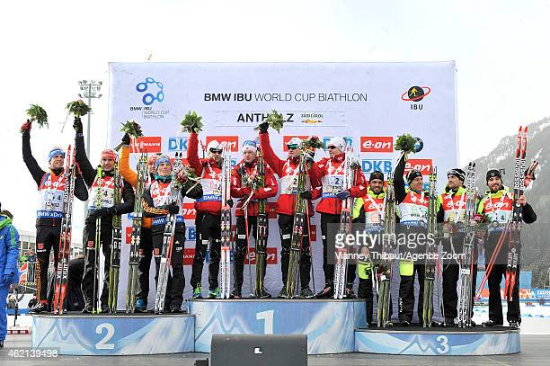 Team Norway takes 1st place, Team Germany takes 2nd place, Team France takes 3rd place during the IBU Biathlon World Cup Men's and Women's Relay on...