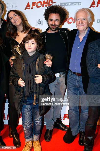 Team od f the movie Charlotte Gabris Stylane Lecaille director Nicolas Benamou and Andre Dussollier attend the 'A Fond' Paris Premiere at Cinema...