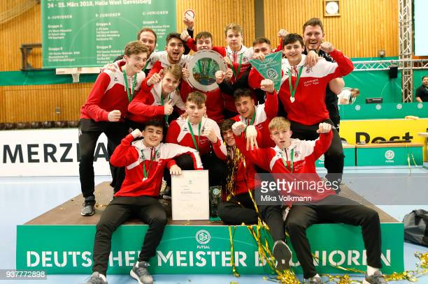 Team of 1FC Kln celebrate the winning of the trophy BJuniroen during the DFB Indoor Football on March 25 2018 in Gevelsberg Germany