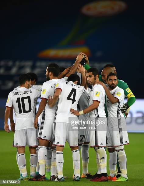 Team of Al Jazira prior to the FIFA Club World Cup UAE 2017 semi final match between Al Jazira and Real Madrid CF at Zayed Sports City Stadium on...