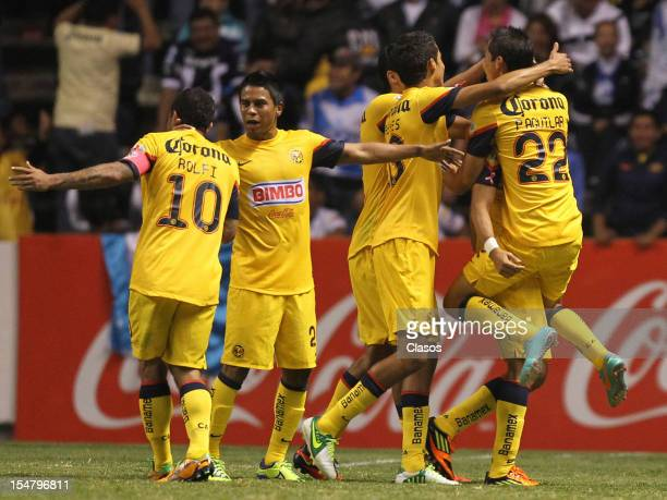 Team of America celebrate a goal during a match between Puebla v America as part of the Apertura 2012 Liga Mx at Cuauhtemoc Stadium on Octuber 25...