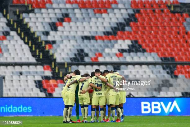 Team of America during the 10th round match between America and Cruz Azul as part of the Torneo Clausura 2020 Liga MX at Azteca Stadium on March 15,...