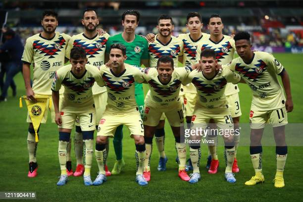 Team of America pose during a quarter final first leg match between Club America and Atlanta United as part of CONCACAF Champions League 2020 at...