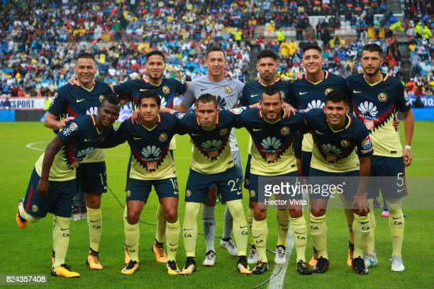 Team of America pose prior to the 2nd round match between Pachuca and America as part of the Torneo Apertura 2017 Liga MX at Hidalgo Stadium on July...