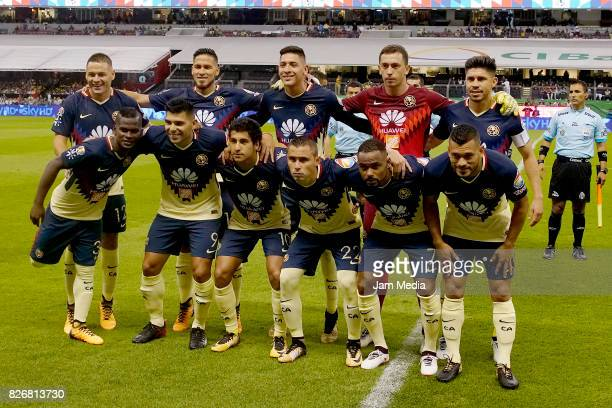 Team of America pose prior to the 3rd round match between America and Pumas UNAM as part of the Torneo Apertura 2017 Liga MX at Azteca Stadium on...