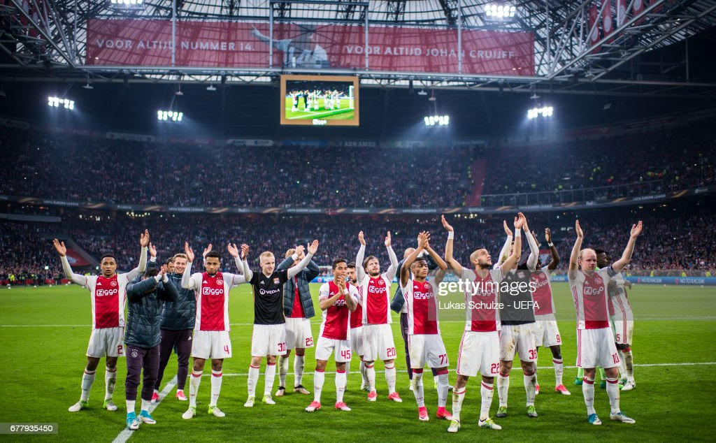 Team of Amsterdam celebrate his victory after the Uefa Europa League, semi final first leg match, between Ajax Amsterdam and Olympique Lyonnais at Amsterdam Arena on May 3, 2017 in Amsterdam, Netherlands.