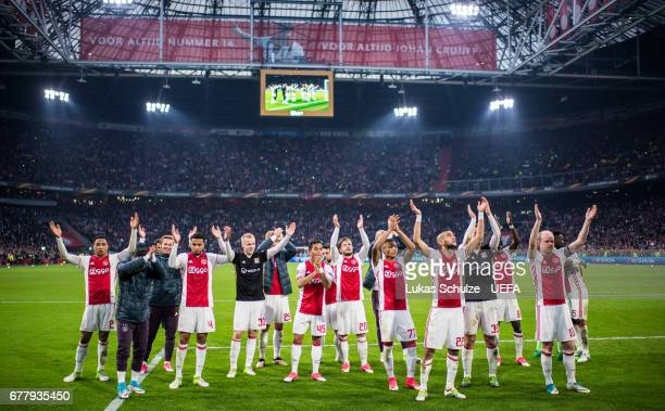 Team of Amsterdam celebrate his victory after the Uefa Europa League semi final first leg match between Ajax Amsterdam and Olympique Lyonnais at...