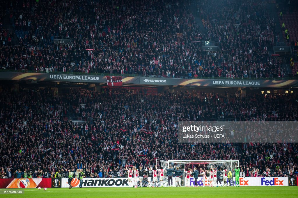Team of Amsterdam celebrate their victory after the Uefa Europa League, semi final first leg match, between Ajax Amsterdam and Olympique Lyonnais at Amsterdam Arena on May 3, 2017 in Amsterdam, Netherlands.