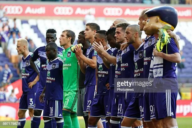 Team of Anderlecht pictured during Jupiler Pro League match between RSC Anderlecht and KAA Gent on August 28, 2016 in Brussels, Belgium