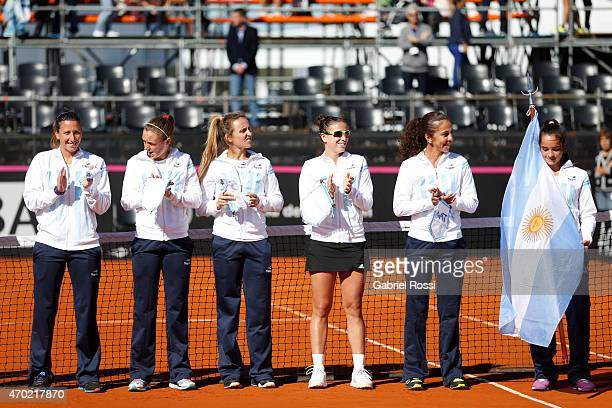 Team of Argentina before a round 1 match between Paula Ormaechea of Argentina and Sara Sorribes Tormo of Spain as part of World Group II Playoffs of...