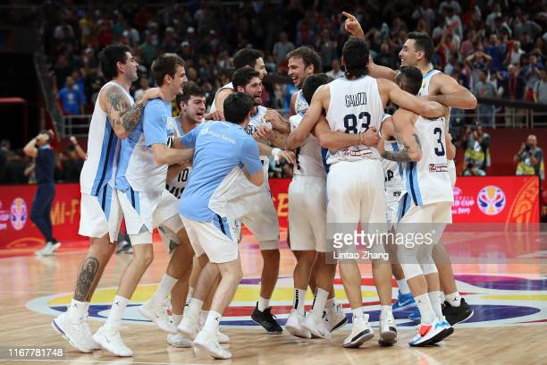 Team of Argentina celebrate after their team's win against France during the semi-finals of 2019 FIBA World Cup match between Argentina and France at...