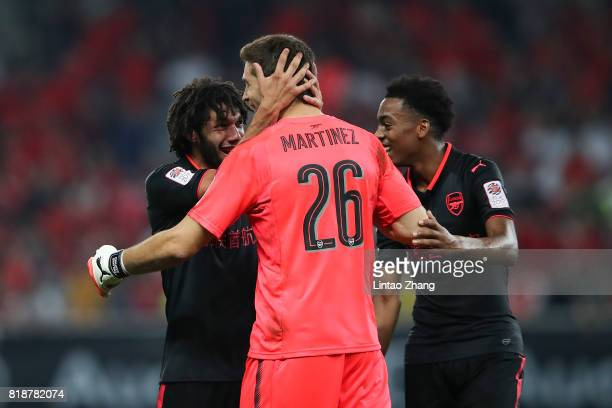 Team of Arsenal FC celebrates after win the 2017 International Champions Cup football match between FC Bayern and Arsenal FC at Shanghai Stadium on...