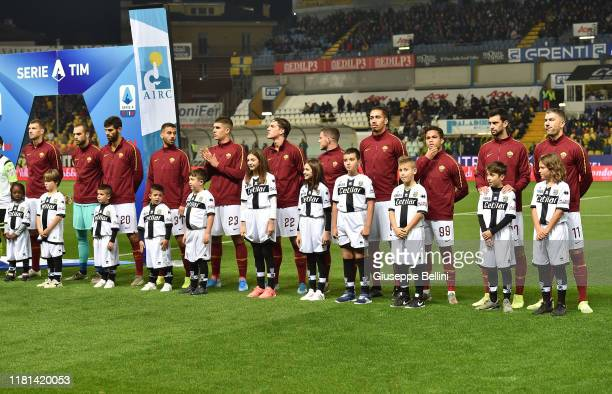 Team of AS Roma prior the Serie A match between Parma Calcio and AS Roma at Stadio Ennio Tardini on November 10 2019 in Parma Italy