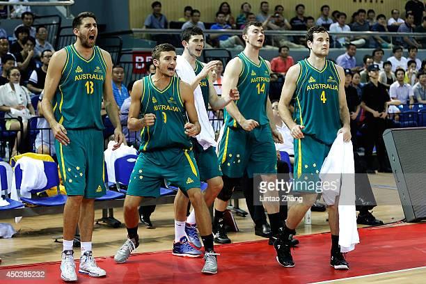Team of Australia Celebrate the team score during the 2014 SinoAustralia Men's International Basketball Challenge match between the Australian...