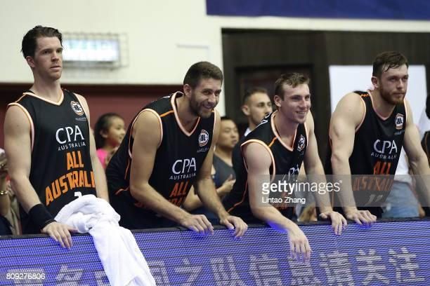 Team of Australia Celebrate the team score during the 2017 SinoAustralia Men's International Basketball Challenge at Beijing Sports University...