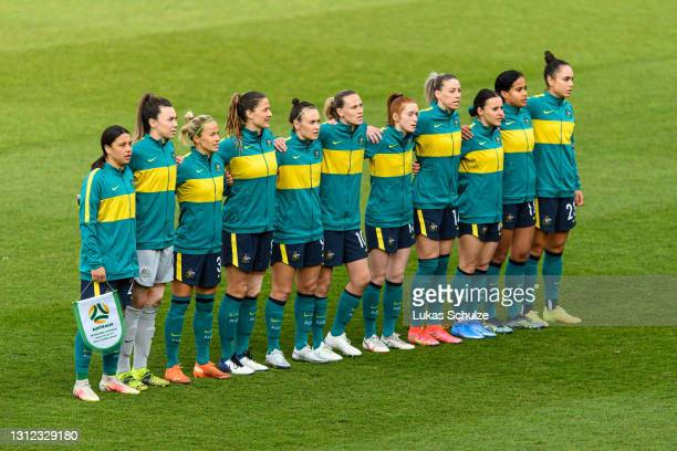 Team of Australia lines up for the national anthem ahead of the International Friendly between Netherlands and Australia at Stadion de Goffert on...