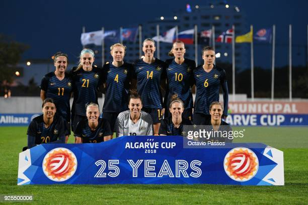 Team of Australia pose for a photo during the Women's Algarve Cup Tournament match between Norway and Australia at Municipal Albufeira on February 28...