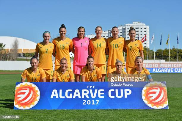Team of Australia poses for the picture during the Women's Algarve Cup Tournament match between Australia and Denmark at Municipal de Albufeira on...