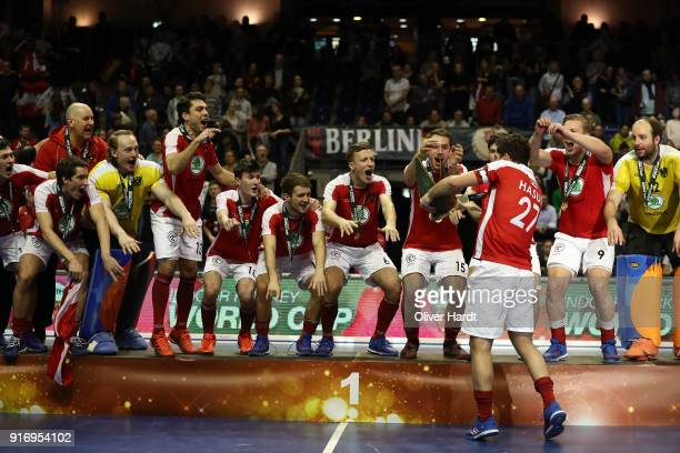 Team of Austria celebrate with the tropy after the Mens Gold Medal Indoor Hockey World Cup Berlin Final Day match between Germany and Austria on...