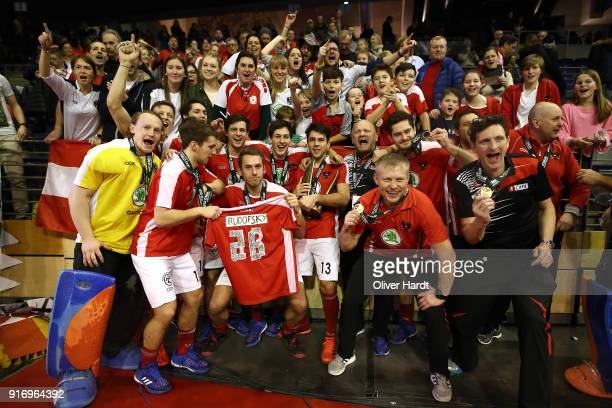 Team of Austria celebrate with trophy and the fans after the Mens Gold Medal Indoor Hockey World Cup Berlin Final Day match between Germany and...