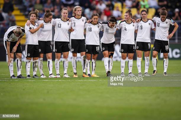 Team of Austria reacts during the penalty shoots during UEFA Women's Euro 2017 Semi Final match between Denmark and Austria at Rat Verlegh Stadion on...