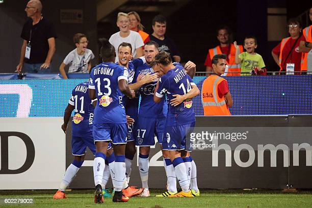 Team of Bastia celebrates during the french Ligue 1 match between Sc Bastia and Toulouse Fc at Stade Armand Cesari on September 10 2016 in Bastia...