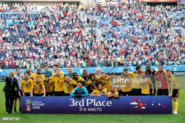 team of Belgium celebrates during the FIFA 2018 World Cup Russia Playoff for third place match between Belgium and England at the Saint Petersburg...