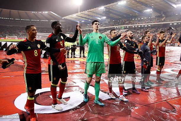Team of Belgium celebrates during the World Cup Qualifier Group H match between Belgium and Estonia at the King Baudouin Stadium on November 13, 2016...