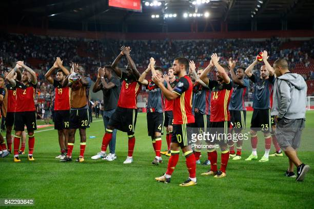 team of Belgium celebrates during the World Cup Qualifier Group H match between Greece and Belgium at the Georgios Karaiskakis Stadium on September...
