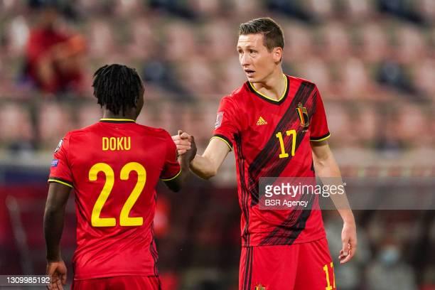 Team of Belgium celebrating goal of Hans Vanaken of Belgium during the FIFA World Cup 2022 Qatar Qualifier match between Belgium and Belarus at Den...