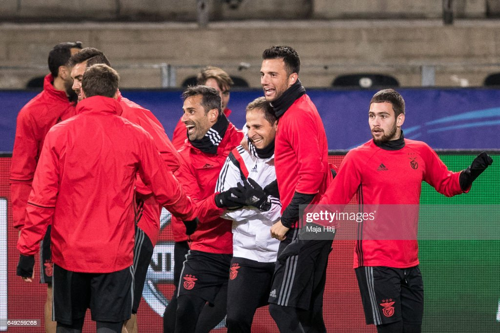 Team of Benfica joke during the training prior the UEFA Champions League Round of 16 second leg match between Borussia Dortmund and SL Benfica at Signal Iduna Park on March 7, 2017 in Dortmund, Germany.