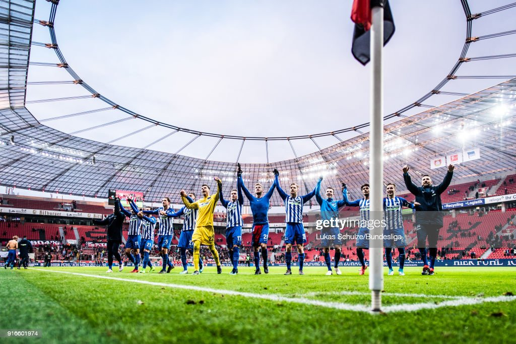 Team of Berlin celebrate their win with their fans after the Bundesliga match between Bayer 04 Leverkusen and Hertha BSC at BayArena on February 10, 2018 in Leverkusen, Germany.