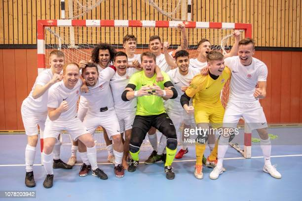 Team of Berlin celebrates after winning the DFB Futsal Federal Cup 2019 at Sport School Wedau on January 6 2019 in Duisburg Germany