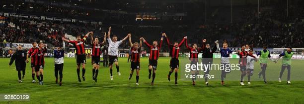 Team of Berlin celebrates after winning the UEFA Europa League group D match between SC Heerenveen and Hertha BSC Berlin at Abe Lenstra stadium on...