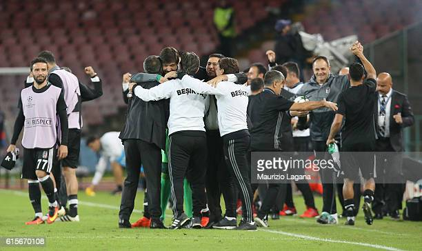 Team of Besiktas celebrate after the UEFA Champions League match between SSC Napoli and Besiktas JK at Stadio San Paolo on October 19 2016 in Naples...