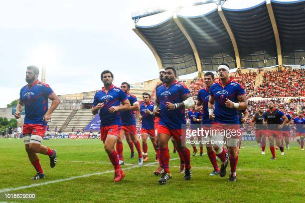 Team of Beziers during the French Pro D2 match between Beziers and Soyaux Angouleme on August 17 2018 in Beziers France