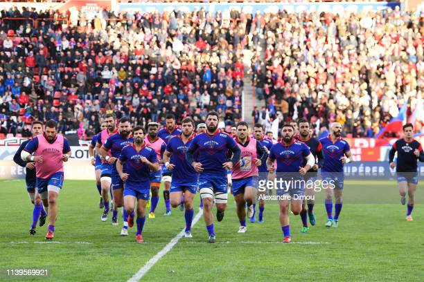 Team of Beziers during the Pro D2 match between Beziers and Vannes on April 26, 2019 in Beziers, France.