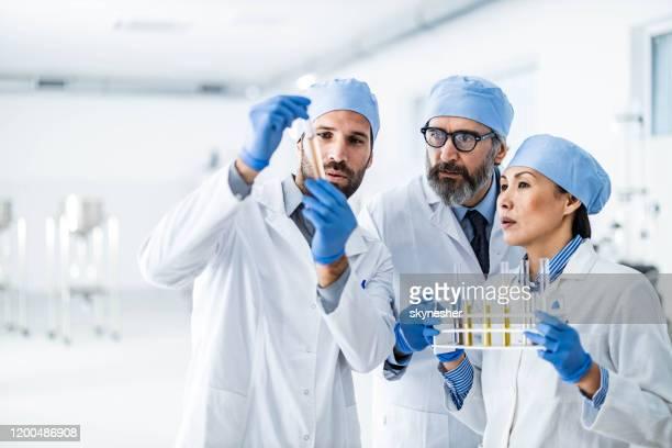 生化学者のチームは、実験室でチューブ内の精油を調べながら協力しています。 - レクリエーショナル・ドラッグ ストックフォトと画像