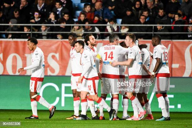 Team of Bordeaux celebrates a goal during the Ligue 1 match between Troyes and Bordeaux on January 13 2018 in Troyes France