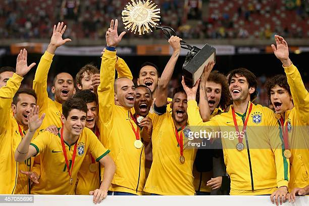 Team of Brazil celebrates winning Super Clasico de las Americas between Argentina and Brazil at Beijing National Stadium on October 11 2014 in...
