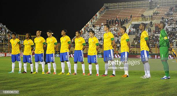 Team of Brazil hears the anthem prior the second leg of the Superclasico de las Americas between Argentina and Brazil at Centenario stadium on...