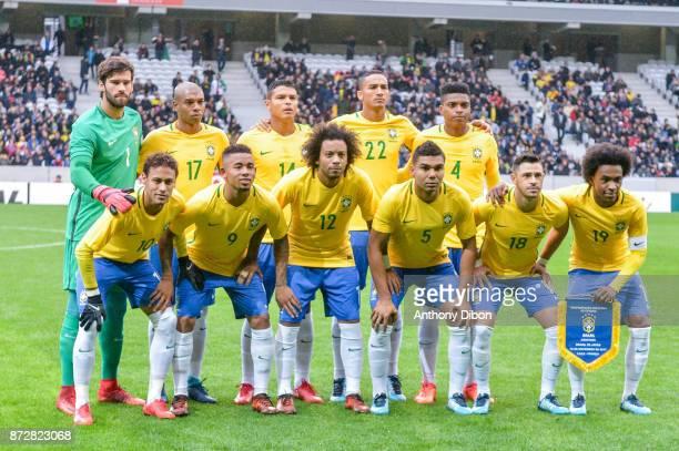 team of Brazil line up back row Alisson Fernandinho Thiago Silva Danilo Jemerson first row Neymar Jr Gabriel Jesus Marcelo Casemiro Giuliano and...