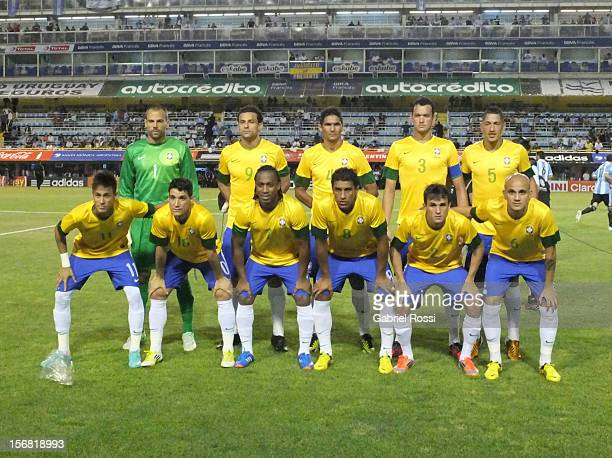 Team of Brazil pose for a photo prior the second leg of the Superclasico de Las AmeŽricas between Argentina and Brazil at Bombonera Stadium on...
